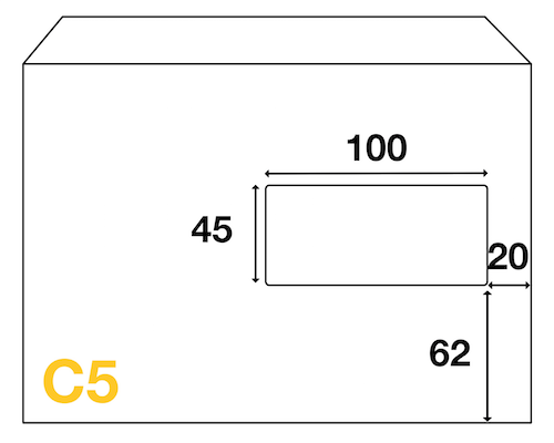 Dimensions Fenêtre enveloppe C5 162x229