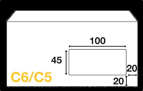 Dimensions Fenêtre enveloppe mécanisable C6/C5 114x229