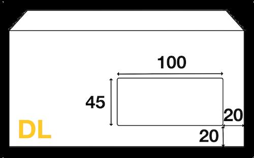 Dimensions Fenêtre enveloppe DL 110x220