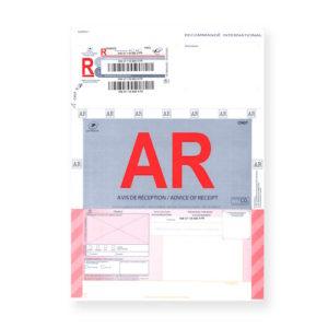 Recommandés A4 Internationaux avec accusé réception avec code-barres