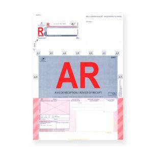Recommandés A4 Internationaux avec accusé réception sans code-barres