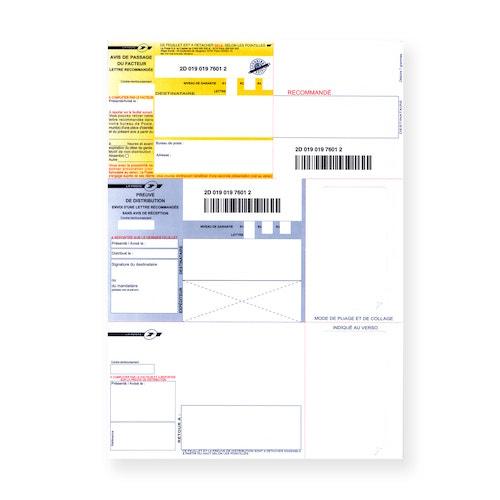 Supports Recommandés A4 sans accusé réception sans code-barres