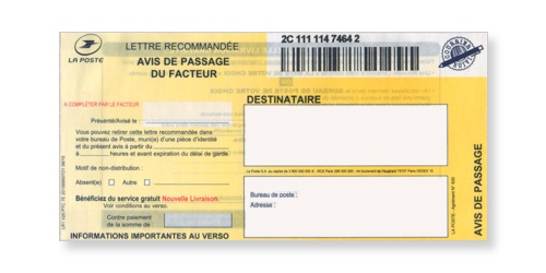 Avis de passage du recommandé en continu avec accusé réception ou liasse LR1 sur Bureaudeposte.net