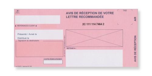Avis de réception du recommandé en continu avec accusé réception ou liasse LR1 sur Bureaudeposte.net