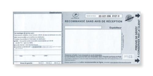 Preuve de dépôt du recommandé manuel sans accusé réception ou liasse guichet SGR1 sur Bureaudeposte.net