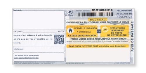 Avis de passage du recommandé manuel avec accusé réception ou liasse guichet SGR2 sur Bureaudeposte.net