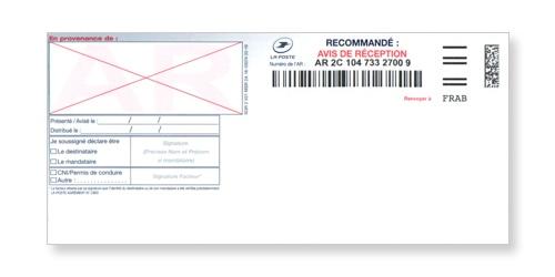 Avis de réception du recommandé manuel avec accusé réception ou liasse guichet SGR2 sur Bureaudeposte.net