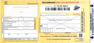 Recommandé manuel avec AR agréé La Poste 2C