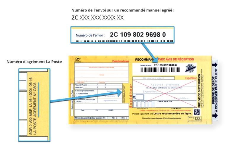 Bureaudeposte.net : aperçu d'un recommandé manuel avec AR agréé avec agrément La Poste