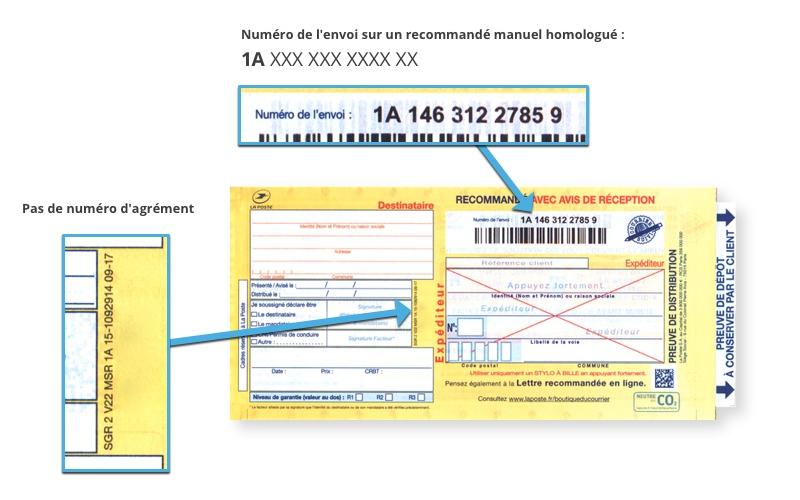 Bureaudeposte.net : aperçu d'un recommandé manuel avec AR homologué 1A