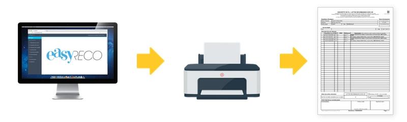 easyReco vous permet d'imprimer vos bordereaux de dépôt aux normes de La Poste