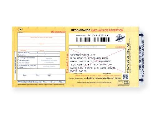 Bureaudeposte : Recommandé manuel personnalisé avec accusé-réception avec adresse imprimée