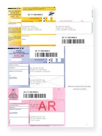 Recommandés A4 avec accusé réception avec code-barres