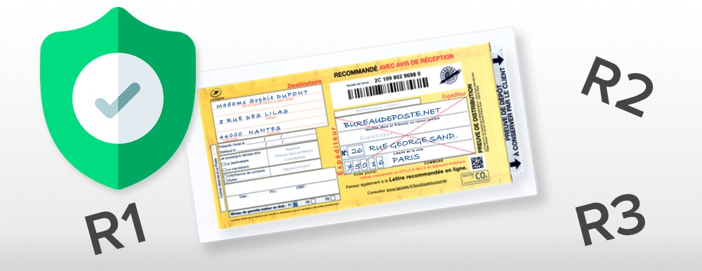 Lettre en recommandé, choix du taux de recommandation (Bureaudeposte.net)