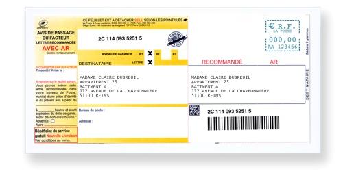 Exemple d'enveloppe avec recommandé A4 plié, collé et affranchi