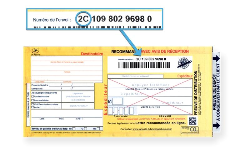 Recommandé postal avec avis de réception : numéro de suivi en 2C