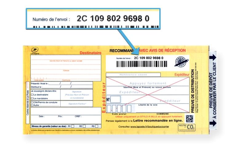 Recommandé manuel postal avec numéro de suivi 2C