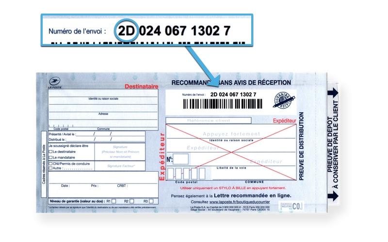Recommandé postal sans avis de réception: numéro de suivi en 2D