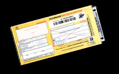 SGR1 - recommandé manuel postal avec AR (avec avis de réception)