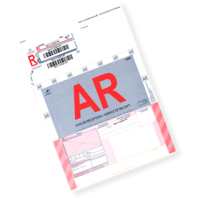 Recommandé A4 postal international avec AR (avec avis de réception)