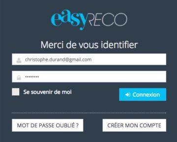 easyReco page connexion